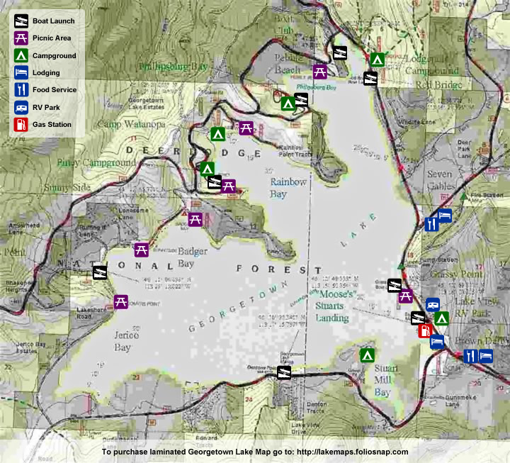 Georgetown Lake Map of Boat Launches and picnic areas